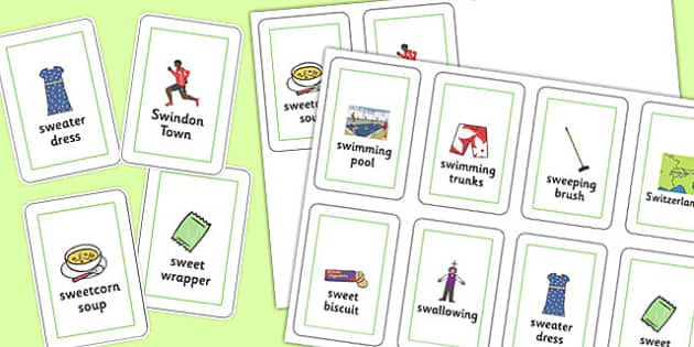 Three Syllable 'SW' Playing Cards - sw sound, syllable, playing cards