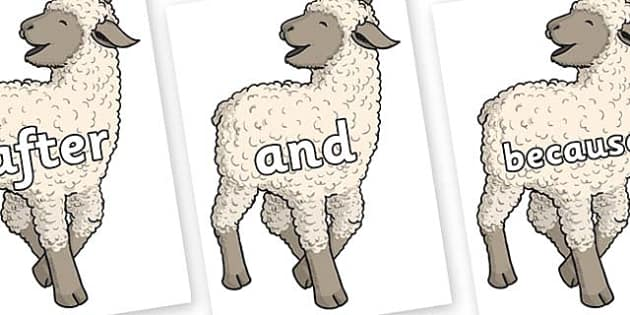 Connectives on Lamb - Connectives, VCOP, connective resources, connectives display words, connective displays