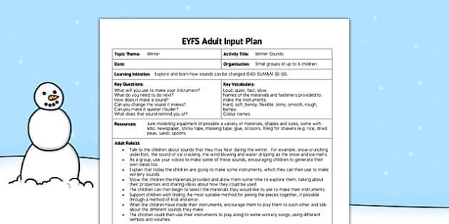 Winter Sounds EYFS Adult Input Plan - adult led, winter, sounds, eyfs