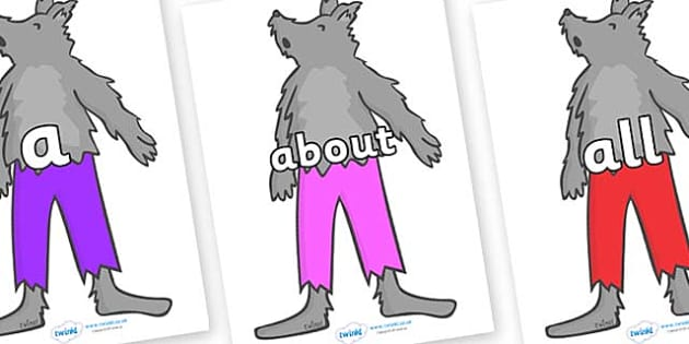 100 High Frequency Words on Werewolf - High frequency words, hfw, DfES Letters and Sounds, Letters and Sounds, display words
