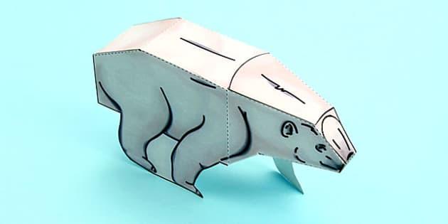 3D Polar Bear Paper Model Activity - 3d, polar bear, paper, model