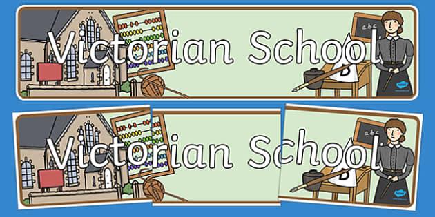 Victorian School Role Play Banner - victorian school, role play, victorian school role play, victorian school display banner, victorian school banner