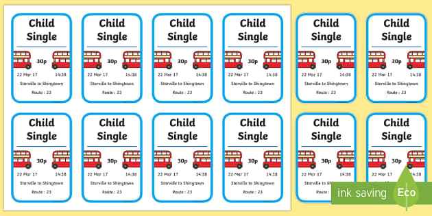 On the Bus Role Play Tickets - transport, roleplay, props, bus