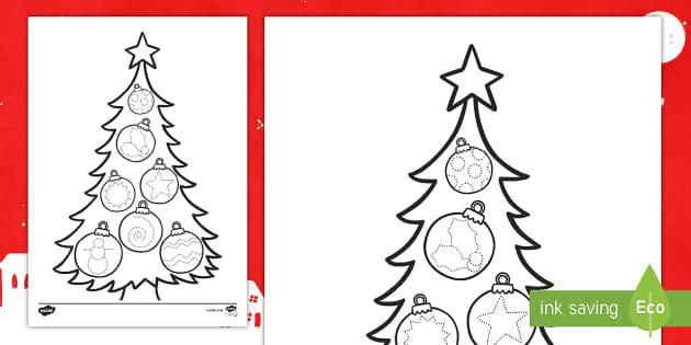 Ficha de motricidad fina trazo: El árbol de Navidad - motricidad, grafomotricidad, control de lapiz, pre-escritura - motricidad, grafomotricidad, control de lapiz, pre-escritura