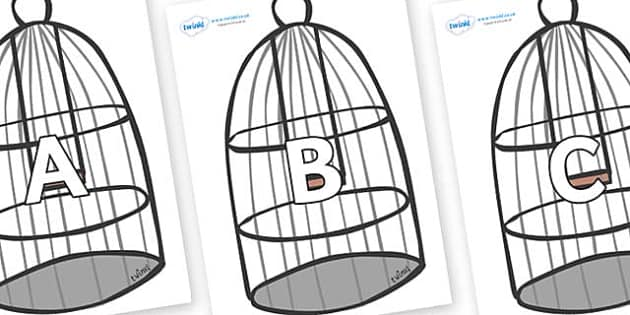 A-Z Alphabet on Cages - A-Z, A4, display, Alphabet frieze, Display letters, Letter posters, A-Z letters, Alphabet flashcards