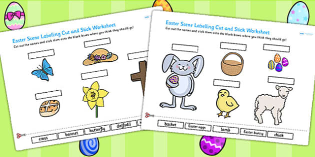 Easter Scene Labelling Cut and Stick Worksheet - easter, cut
