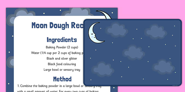 Moon Dough Recipe and Mat - moon dough, recipe, mat, moon, dough