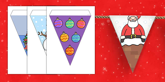 Christmas Bunting - bunting, christmas, christmas decorations, xmas bunting, themed bunting, classroom display, decorations, decorative, xmas, cut out, string, santa, crackers, bells, toys, presents, reindeer, sleigh, baubles, tree lights, snow man,