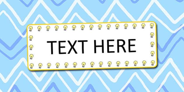 Light Bulb Themed Editable Word cards - words, edit, lights