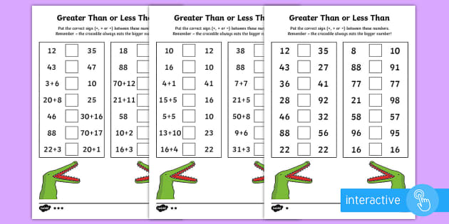 Greater Than or Less Than Go Respond Activity Sheet - year 2