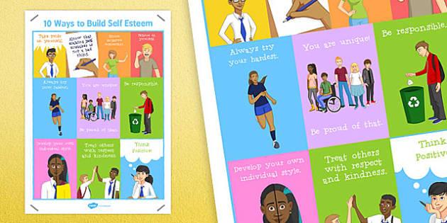10 Ways to Build Self Esteem Poster - self-esteem, poster, build