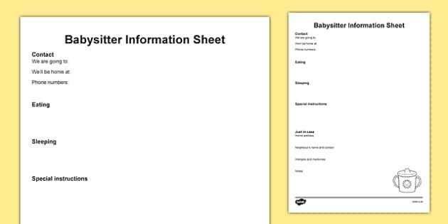 Babysitter Information Sheet - Babysitter, details, childcare