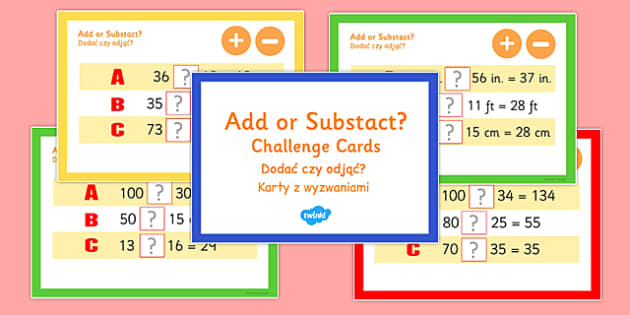 Addition and Subtraction Maths Challenge Cards Polish Translation - polish, addition, subtraction, maths, challenge, cards