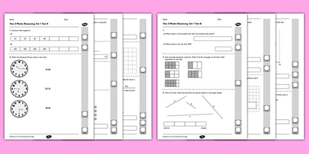 Year 3 Mathematics Reasoning Test Set 1 - Year 3, Reasoning, mathematics, maths