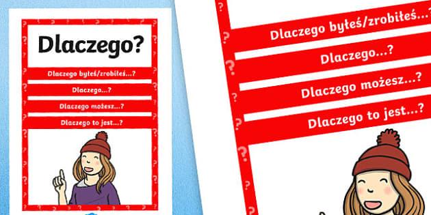 Plakat z pytaniami Dlaczego? po polsku