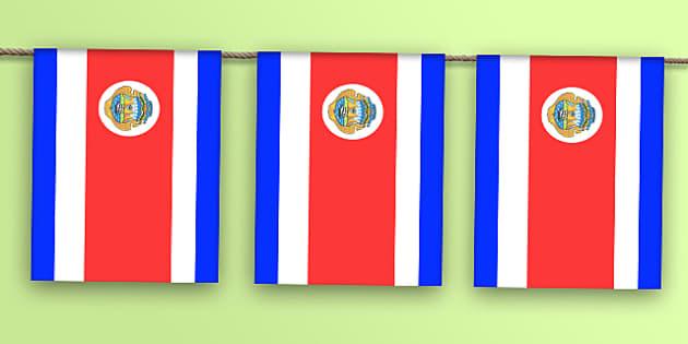 Costa Rica Flag Bunting - costa rica flag, costa rica, flag, bunting, display bunting, display
