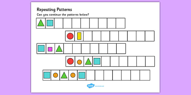 Repeating Pattern Activity Sheets (Shapes and Colours) - Repeating patterns, repeat, repeating, shape repeating pattern, shapes, shape, pattern, patterns, colour, repeating colours, colour repeating patterns, numeracy, patterns, shapes, colours, repe