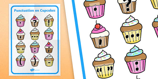 Punctuation Marks on Cupcakes Poster - punctuation marks, cupcakes, poster, display