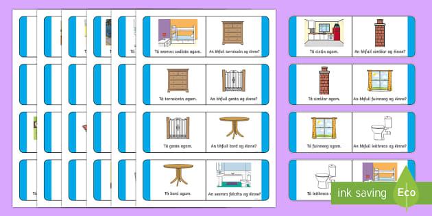 At Home Loop Cards Gaeilge - Gaeilge - Sa Bhaile, Irish, Home, house, loop card game, Irish