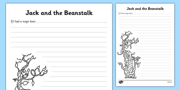 Jack and the Beanstalk 'If I had a magic bean...' Writing Frame Starter - jack and the beanstalk, jack and the beanstalk writing frame, jack and the beanstalk writing, if I had a magic bean