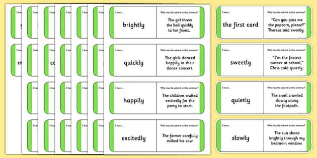 Australian Year 2 Adverbs Loop Cards - australia, Phonics, grammar, language, literacy, adverbs, loop cards, talking, listening, ACELA1452