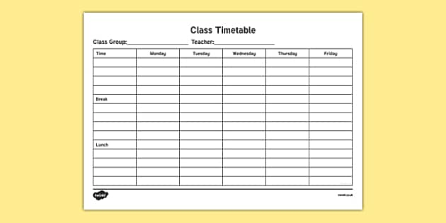 ROI Class Timetable Checklist-Irish