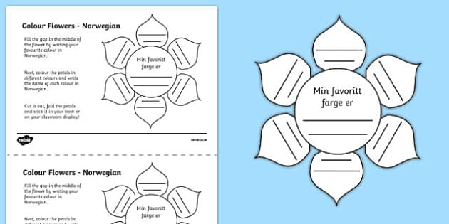 MFL Norwegian Colour Flowers Activity Sheet, worksheet