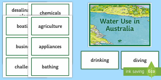 Water Use in Australia Word Wall Display Cards - Water in Australia, water use, sustainability, using water, water ,Australia