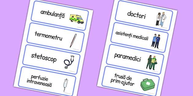 La spital - Cartonașe cu imagni și cuvinte