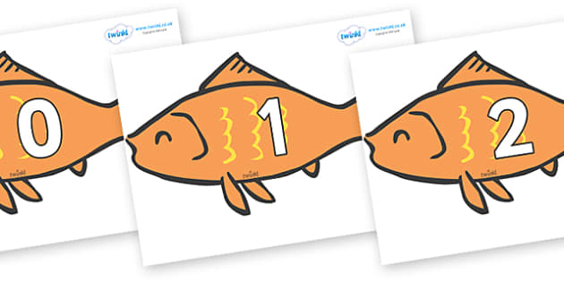 Numbers 0-100 on Goldfish - 0-100, foundation stage numeracy, Number recognition, Number flashcards, counting, number frieze, Display numbers, number posters