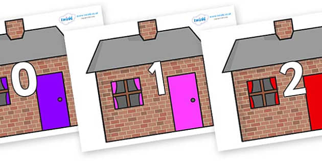 Numbers 0-50 on Brick houses - 0-50, foundation stage numeracy, Number recognition, Number flashcards, counting, number frieze, Display numbers, number posters