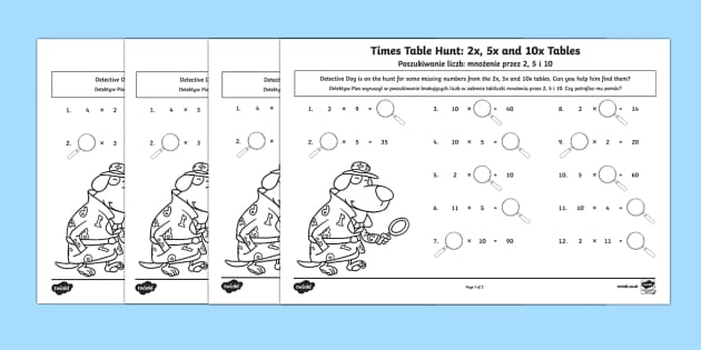 Times Tables Missing Numbers Activity Sheet English/Polish