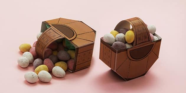 Easter Treat Basket Paper Model - easter, paper, model, craft