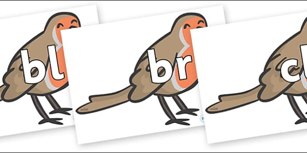 Initial Letter Blends on Robins - Initial Letters, initial letter, letter blend, letter blends, consonant, consonants, digraph, trigraph, literacy, alphabet, letters, foundation stage literacy