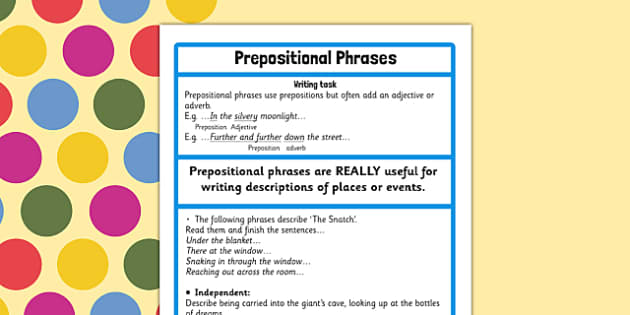 Prepositional Phrase Challenge Activity to Support Teaching on The BFG - bfg, preposition