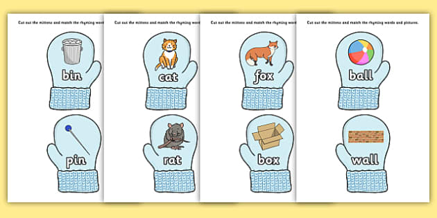 Matching Rhyming Words and Pictures on Mittens - matching, match, rhyming, rhyme, words, pictures, mittens
