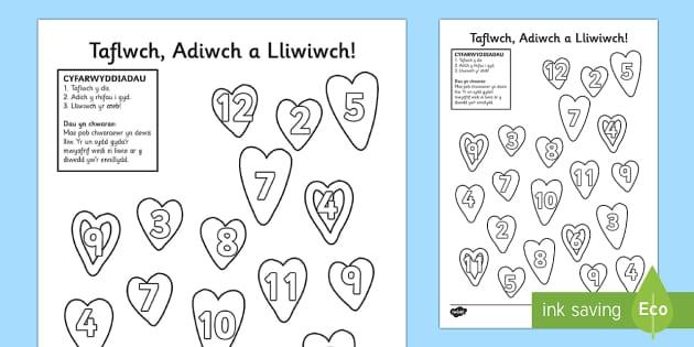 Taflen Weithgaredd Taflwch, Adiwch a Lliwich Dydd San Ffolanth - WLW Dydd San Ffolant (St Valentine's Day 14.2.17), Dydd San ffolant mathemateg, Adio gyda dis, gwei
