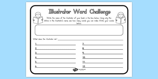 Illustrator Word Challenge Worksheet - australia, challenge