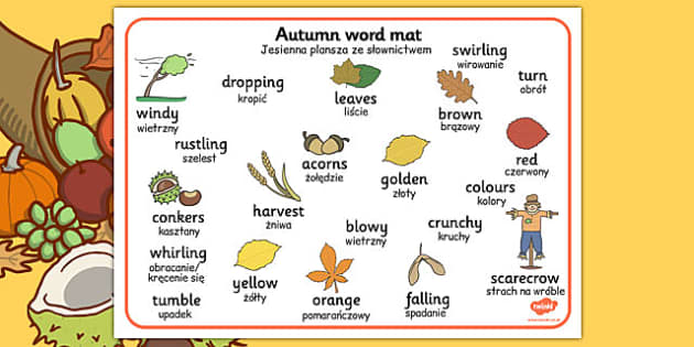 Autumn Word Mats Polish Translation - polish, autumn, word mats