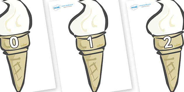Numbers 0-50 on Ice Creams - 0-50, foundation stage numeracy, Number recognition, Number flashcards, counting, number frieze, Display numbers, number posters