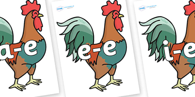 Split Digraphs on Roosters - Modifying E, letters, modify, Phase 5, Phase five, alternative spellings for phonemes, DfES letters and Sounds