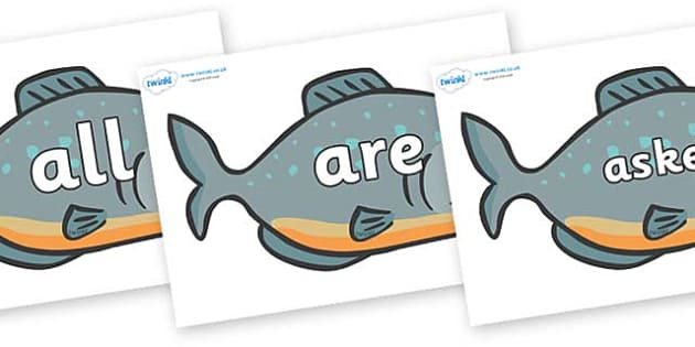 Tricky Words on Piranhas - Tricky words, DfES Letters and Sounds, Letters and sounds, display, words