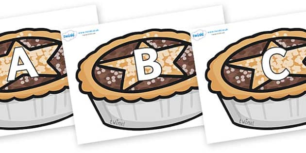 A-Z Alphabet on Mince Pies - A-Z, A4, display, Alphabet frieze, Display letters, Letter posters, A-Z letters, Alphabet flashcards