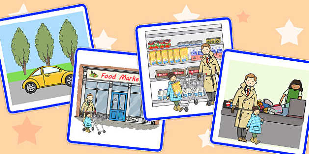 Sequencing Cards Going to the Supermarket - supermarket, cards