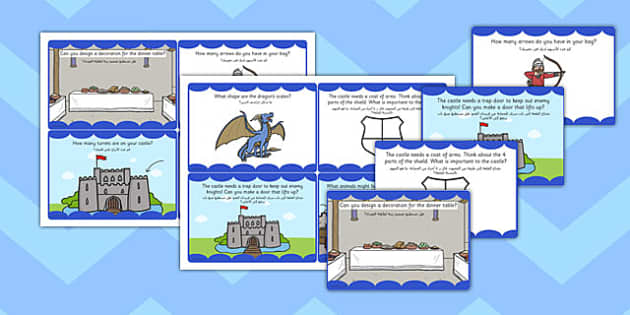 Medieval Castle Role Play Challenge Cards Arabic Translation