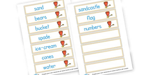 Sand Area Vocab - Sand Area Primary Resources, numeracy, signs, labels, visual aids, areas, zones, banner, poster, Early Years (EYFS), KS1 & KS2 Primary Teaching Resources