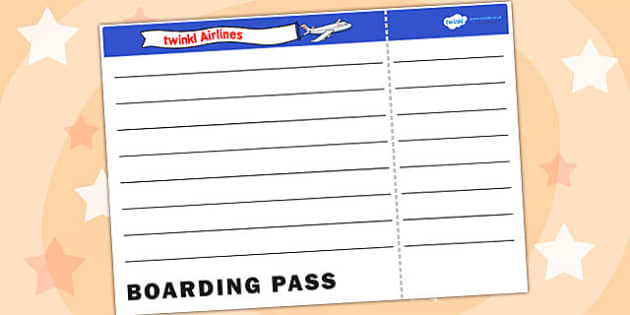 Blank Plane Ticket Template - plane ticket, template, writing template, writing aid, blank template, blank, plane ticket template, blank writing template