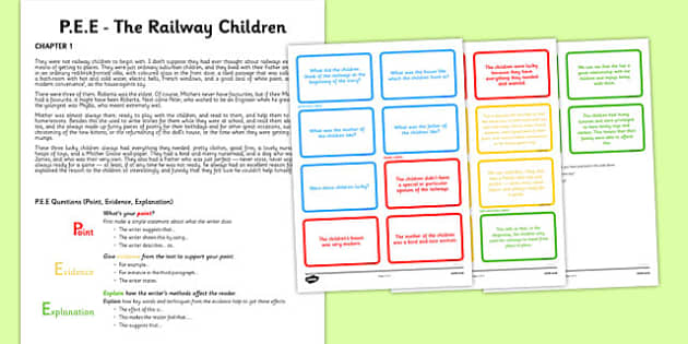 Point Evidence Explanation Activity The Railway Children - point, evidence, explanation, the railway children