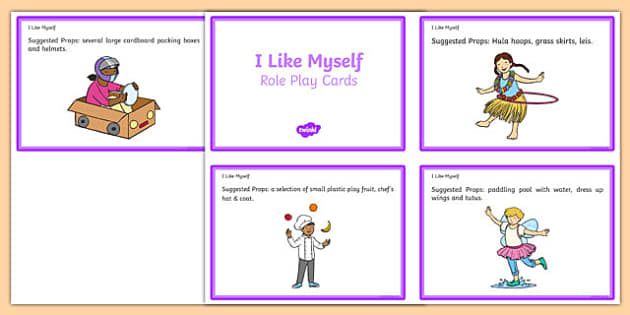I Like Myself Super Silly Me Role Play Cards - usa, america, i like myself, all about me, super, silly, me, role play, cards