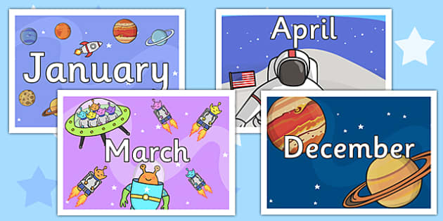 Space Themed Months of the Year Posters - space display, months